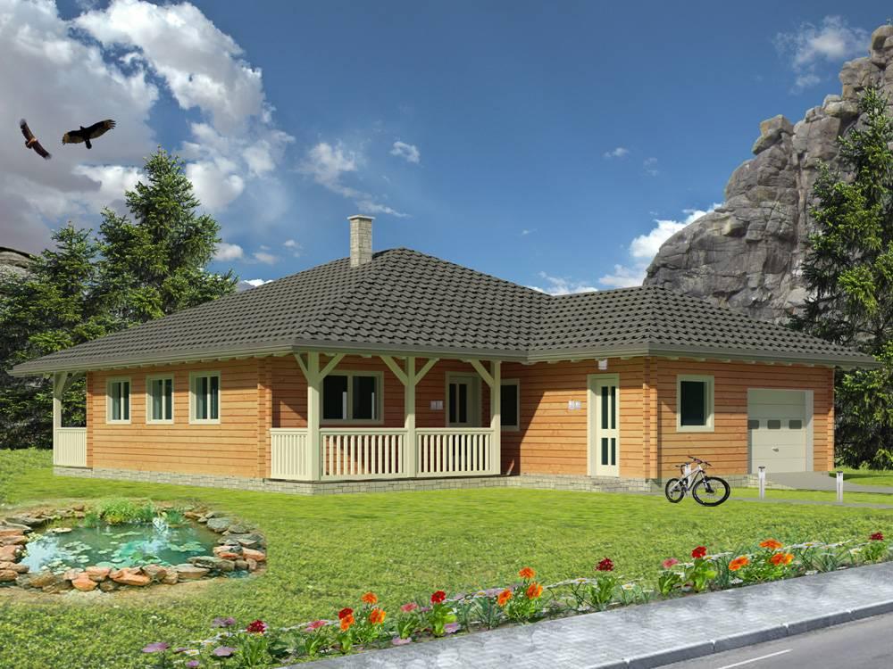 Zrubový dom Trend – drevený bungalov