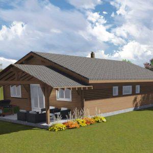 Zrubový dom Patrik - drevený bungalov